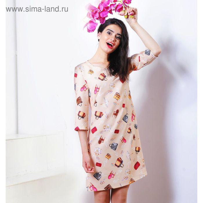 Платье 5126б С+, размер 52, рост 164 см, цвет бежевый
