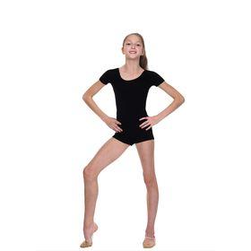 Комбинезон спортивный, с коротким рукавом, размер 30, цвет чёрный