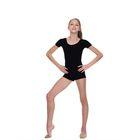 Комбинезон спортивный, с коротким рукавом, размер 34, цвет чёрный