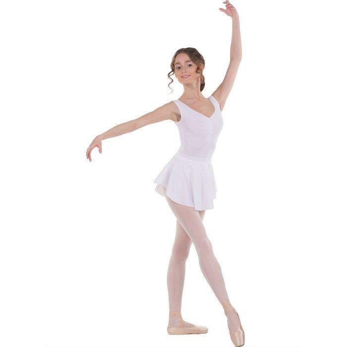 Юбка для гимнастики «Овал», укороченная по бокам, размер 36, цвет белый