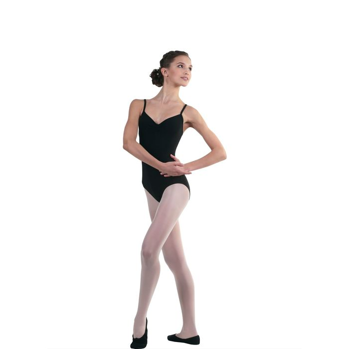 Купальник гимнастический, на бретелях, размер 36, цвет чёрный