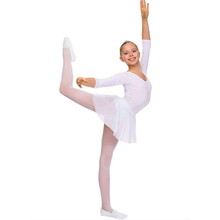 Купальник гимнастический, рукав 3/4, размер 26, цвет белый