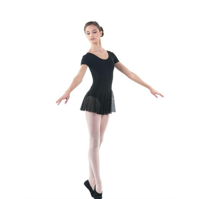 Купальник гимнастический, с коротким рукавом, размер 26, цвет чёрный