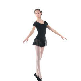 Купальник гимнастический, с коротким рукавом, размер 32, цвет чёрный Ош