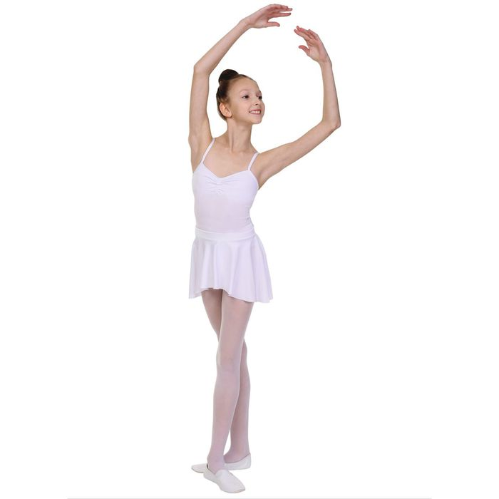 Юбка для гимнастики «Овал», укороченная по бокам, размер 40, цвет белый