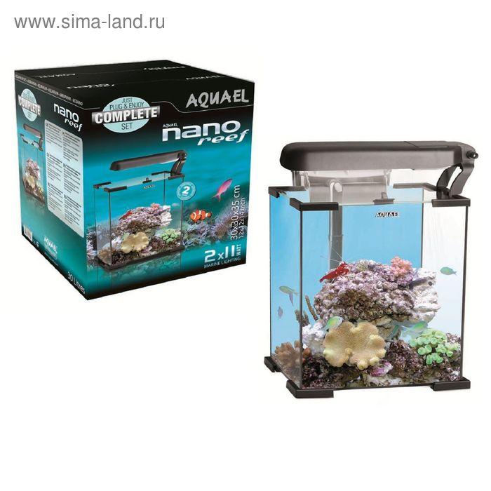Морской аквариум NANO REEF 30 черный (Aquael) 30л.,25x25x30, FZN, свет LED: marine 6w,actinic 6w   1