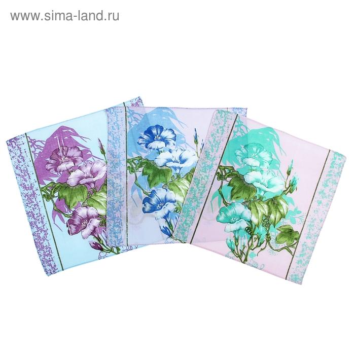 Платки носовые женские Цветы симпл 30*30 см, 12 шт, цвета МИКС,100% хлопок