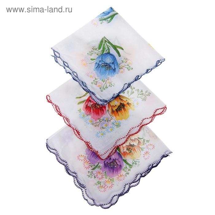 Платки носовые женские Цветочная волна 30*30 см, 12 шт, цвета МИКС,100% хлопок
