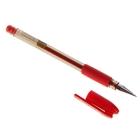 Ручка гелевая, 0.7 мм, красный стержень, тонированный корпус, с резиновым держателем