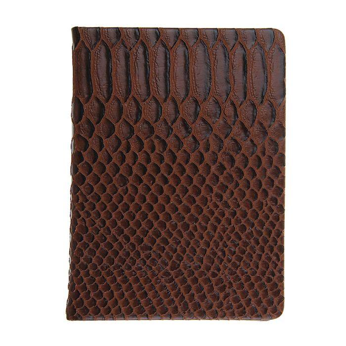 Ежедневник недатированный формат А6, 80 листов, линия, Крокодил коричневый