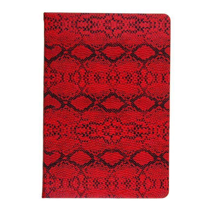 Ежедневник недатированный формат А5, 100 листов, линия, Рептилия красный