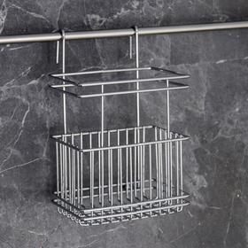 Подставка для кухонных принадлежностей на рейлинг Доляна, 13×10,5×19,5 см, цвет хром