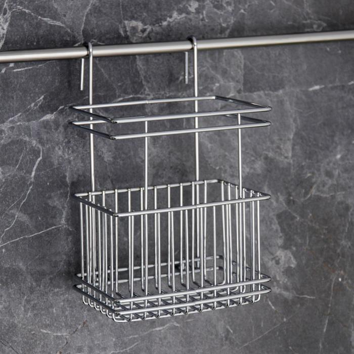 Stand for kitchen utensils on rails, color chrome