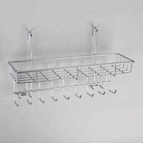 Полка на рейлинг с крючками Доляна, 29×10×17 см