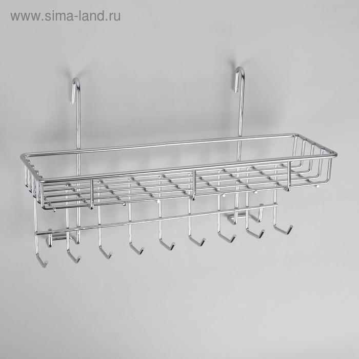 Shelf on rails with hooks