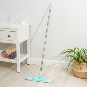 Швабра плоская Доляна, телескопическая стальная ручка 68-121 см, насадка микрофибра 40×10 см, цвет МИКС
