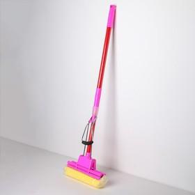 Швабра PVA с двойным роликовым отжимом Доляна, телескопическая ручка 96-119 см, насадка 28×6 см, цвет МИКС