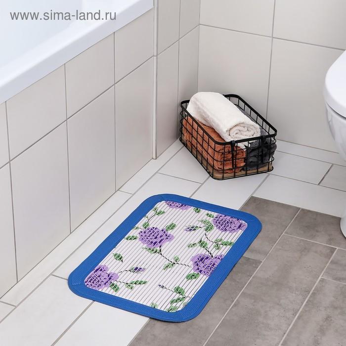 Коврик для ванной, цветная окантовка, цвет МИКС