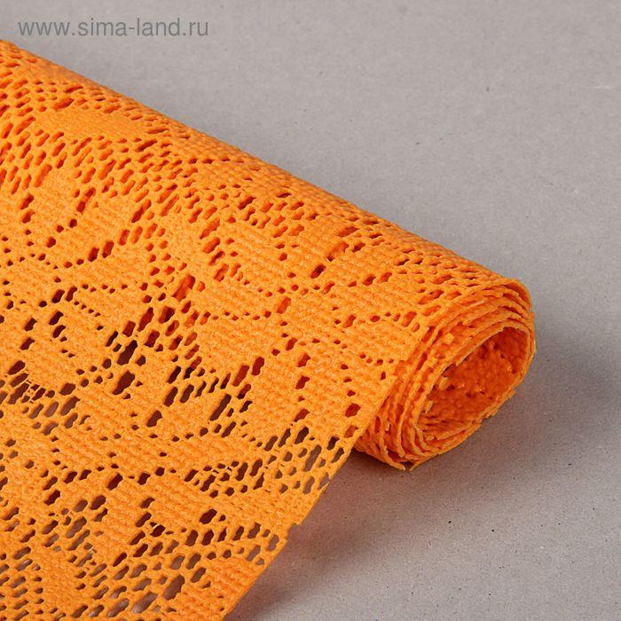 """Коврик противоскользящий 45х100 см """"Цветы"""", цвет оранжевый"""