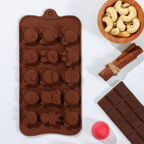 Форма для льда и шоколада 21×10,5 см «Мордашки», 15 ячеек (2,5×2,3 см)