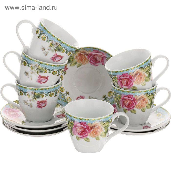 """Набор чайный, 12 предметов, """"Розы"""", чашка 220 мл"""