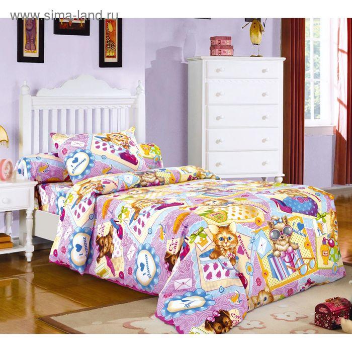 """Постельное бельё 1,5 сп., Белиссимо """"Модники 1"""", цвет розовый, размер 215х143 см, 214х145 см, 70х70 см - 2 шт., бязь, 125 г/м2"""