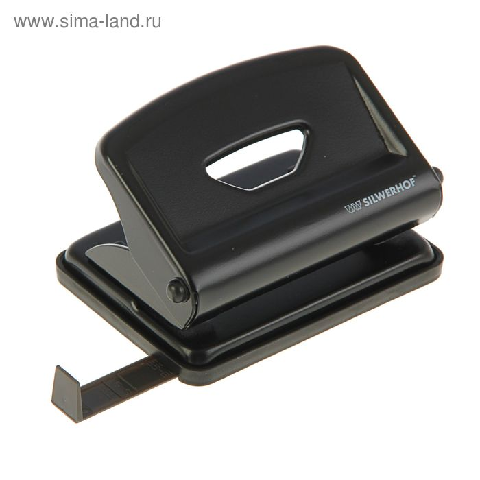 Дырокол металлический 16л NERO, форматная линейка, черный 392026-01