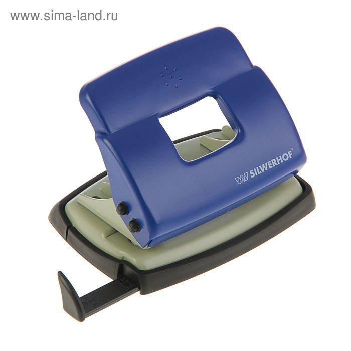 Дырокол металлический 20л DEBUT, форматная линейка, синий 392030-02