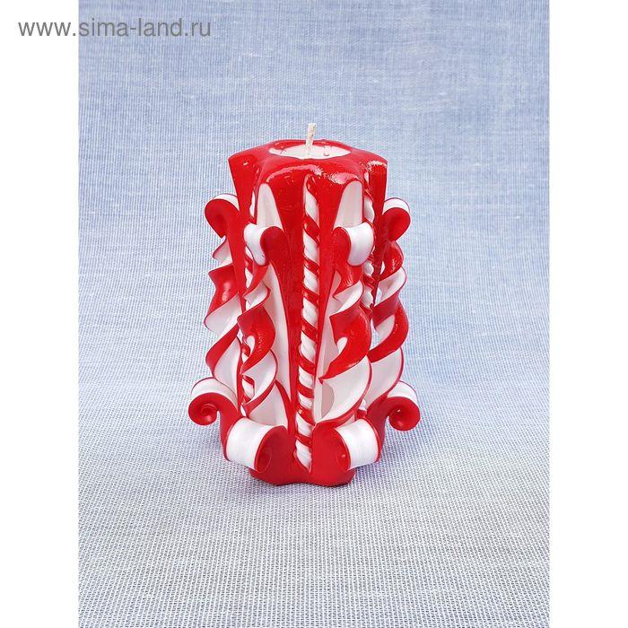 """Свеча резная 10-11см  """"Витая""""  красно-белая"""
