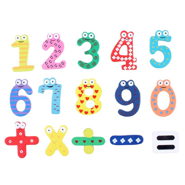 Digits and signs , 15 elements, behind the little magnet circle