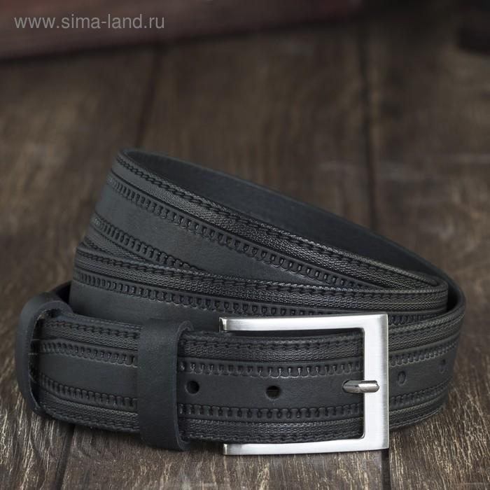 Ремень мужской, винт, пряжка под металл, ширина - 3,4см, чёрный