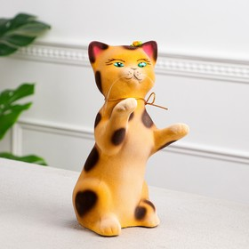 """Копилка """"Кот попрошайка"""", покрытие флок, бежевая, 26 см"""