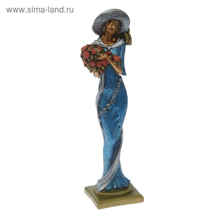 """Сувенир """"Девушка с цветами"""" синее платье"""