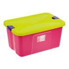 """Ящик для игрушек """"Секрет"""" с крышкой, 44 л, цвет малиновый"""