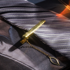 """Зажим для галстука """"Классический"""" ажурный, цвет золотой"""