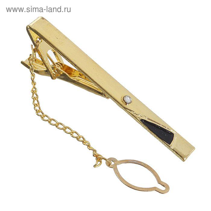 """Зажим для галстука """"Треугольник"""" с эмалью, цвет  чёрно-золотой"""