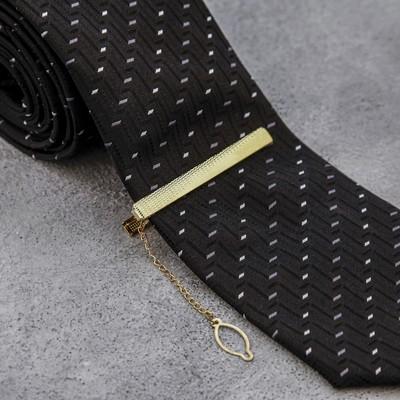"""Зажим для галстука """"Классический"""" поперечная линия, цвет золотой"""