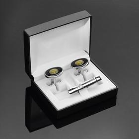 """Набор мужской """"Запонки + зажим (4,5 см) для галстука"""" кошачий глаз, овал, цвет зелёно-чёрный в серебре - фото 7469055"""