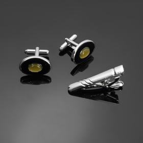 """Набор мужской """"Запонки + зажим (4,5 см) для галстука"""" кошачий глаз, овал, цвет зелёно-чёрный в серебре - фото 7469056"""