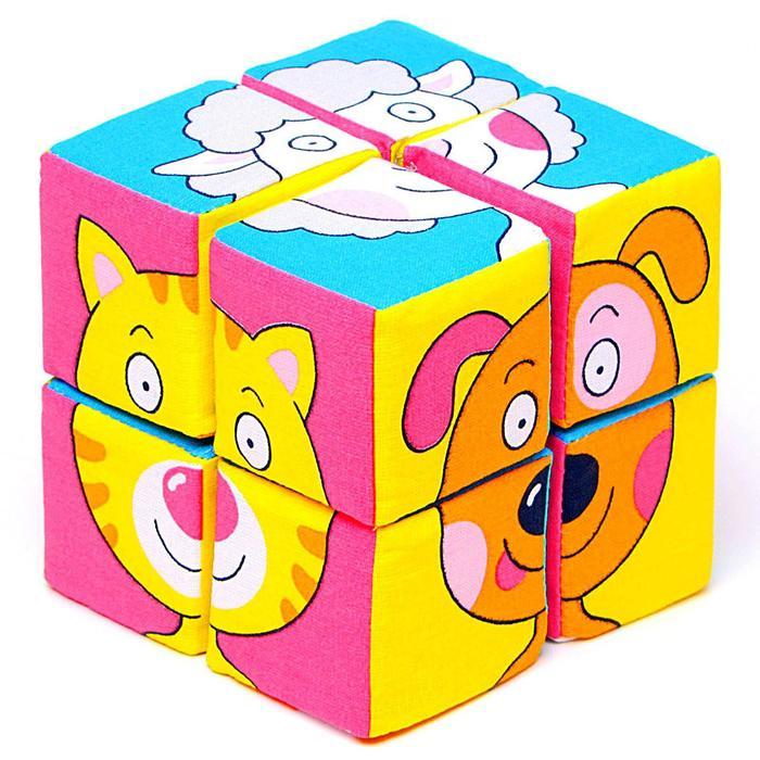 Набор мягких кубиков «Собери картинку.Зверята» - фото 106546047