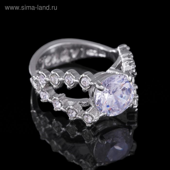"""Кольцо """"Ситара"""", размер 16, цвет белый в серебре"""