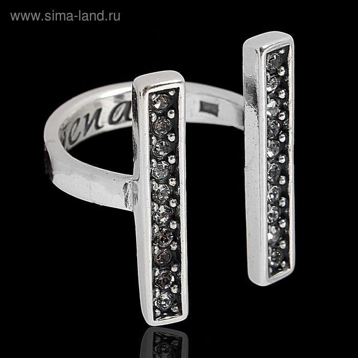 """Кольцо """"Ватмана"""", размер 18, цвет белый в чернёном серебре"""