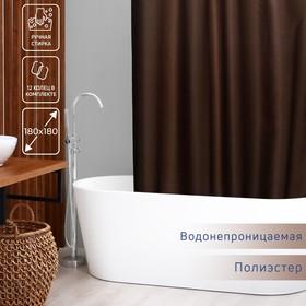 Штора для ванной комнаты Доляна «Шоколад», 180×180 см, полиэстер