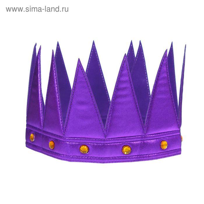 """Корона """"Царь"""" с камнями, цвет фиолетовый"""