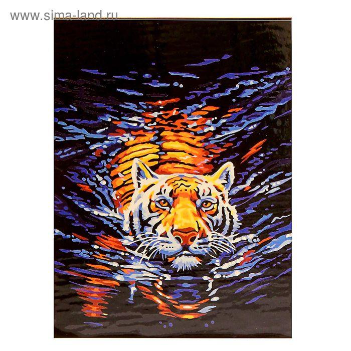 """Роспись по холсту """"Тигр в воде"""" по номерам с красками по 3 мл+ кисти+инструк-я+крепеж 40*50 13797"""