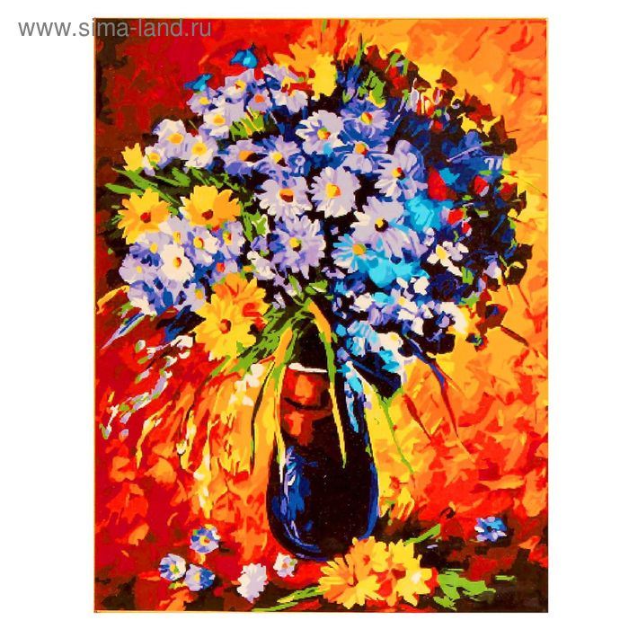 """Роспись по холсту """"Полевые цветы"""" по номерам с красками по 3 мл+ кисти+инструк-я+крепеж 40*50 137"""
