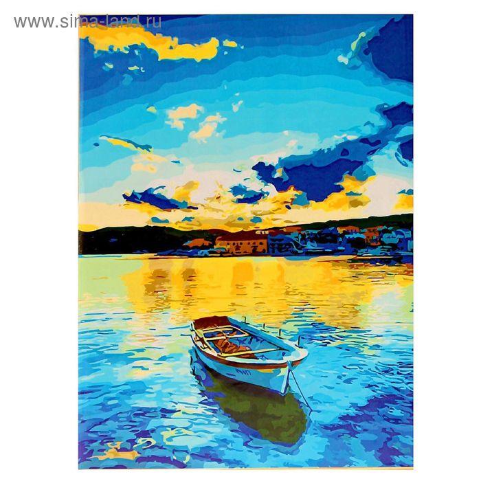 """Роспись по холсту """"Лодка на мели"""" по номерам с красками по 3 мл+ кисти+инструк-я+крепеж 40*50 137"""