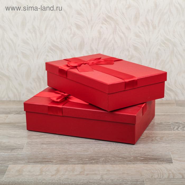 Набор коробок 2в1 прямоуг (30,5*21,5*8/28,5*19,5*7), бордо