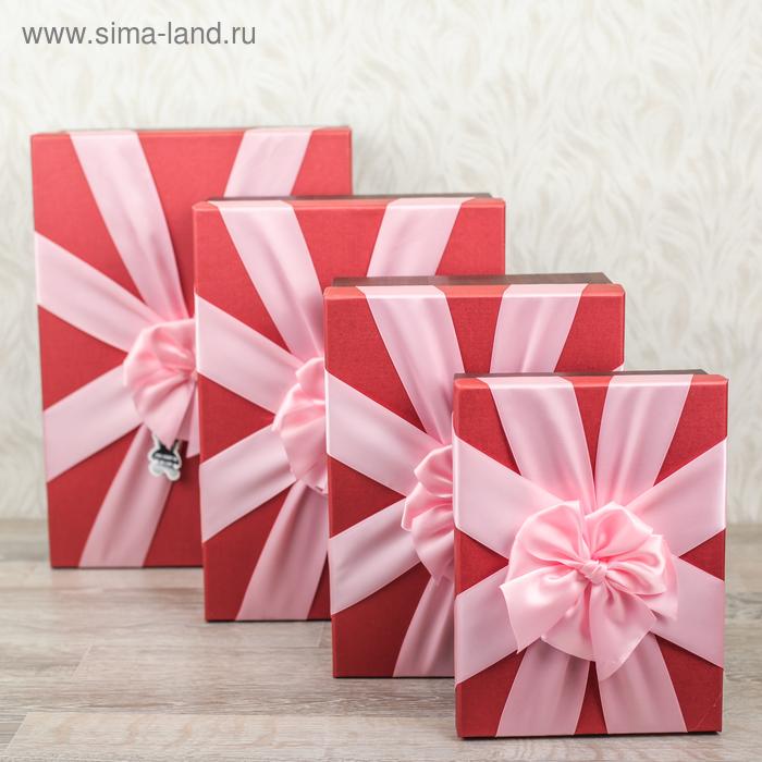 Набор коробок 4в1 прямоуг (37*26*14,5-23,5*17,5*7 см), красный