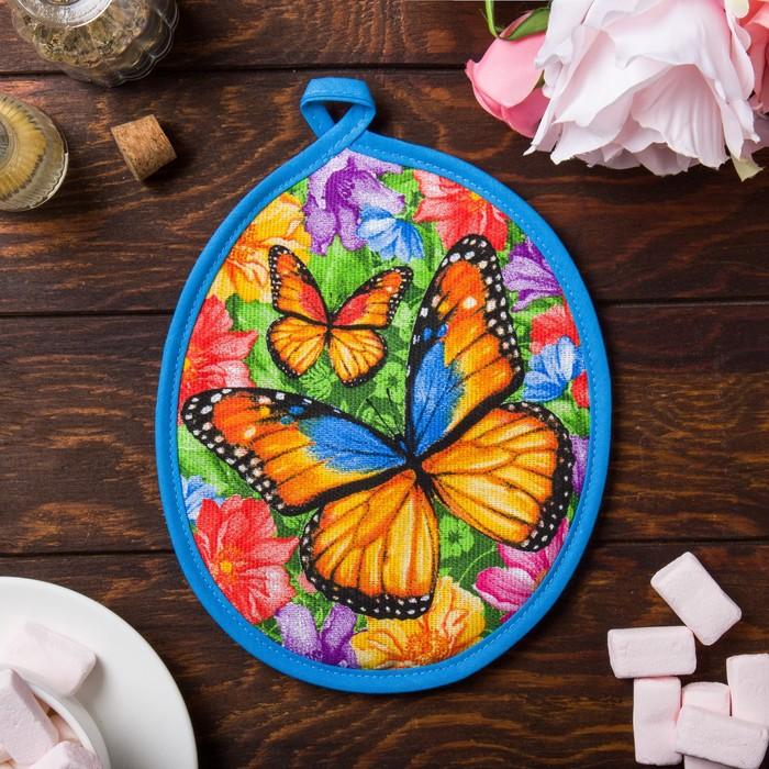 """Прихватка """"Доляна"""" Весенние бабочки 17 см, МИКС, 100% хлопок, рогожка 162 г/м2"""